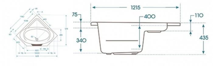 Dimensions baignoire à porte Batz