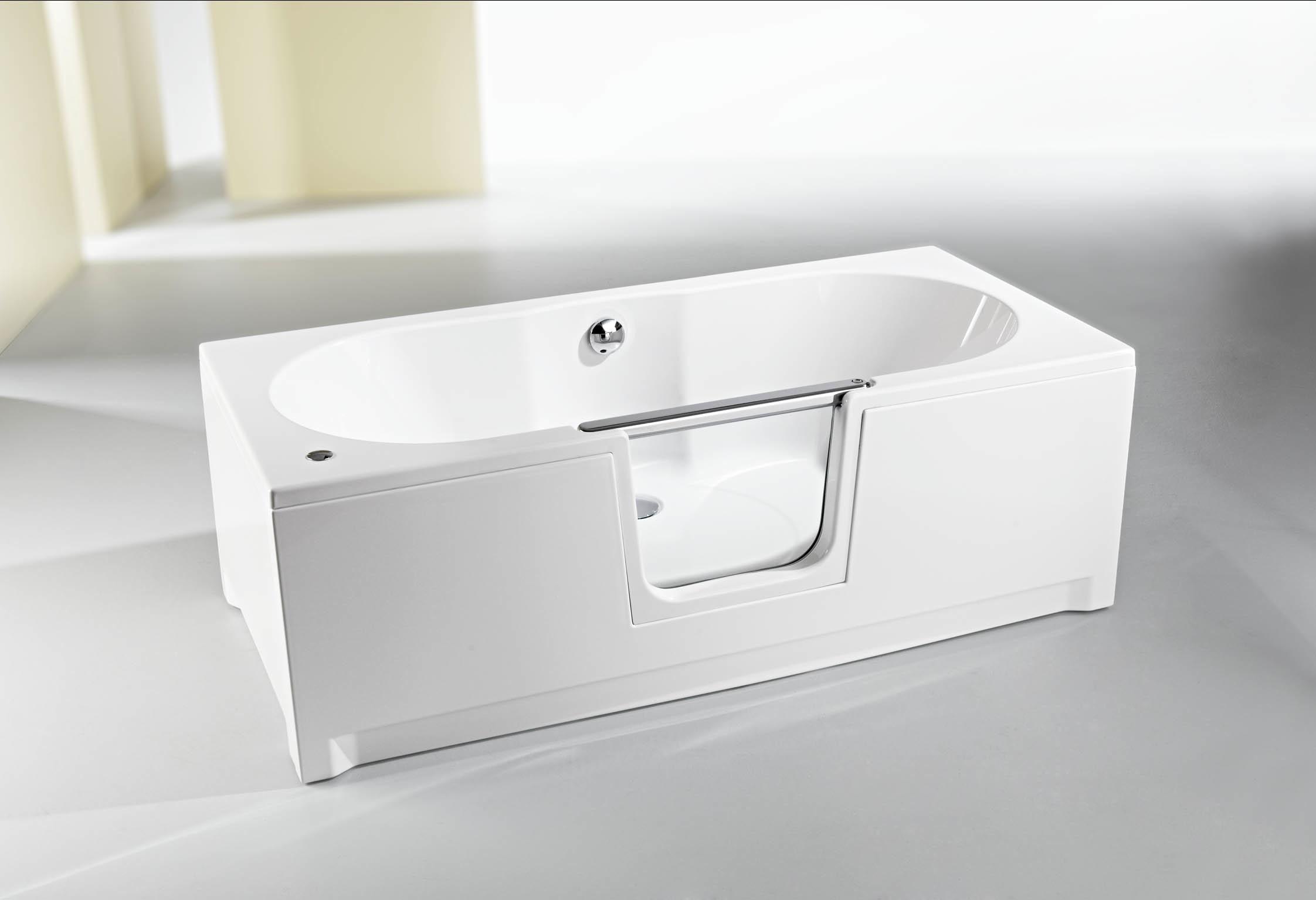 Baignoire porte saniku komfort le bain en position for Baignoire douche porte