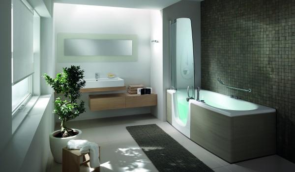 Combin baignoire douche une baignoire et une douche for Feng shui salle de bain sans fenetre