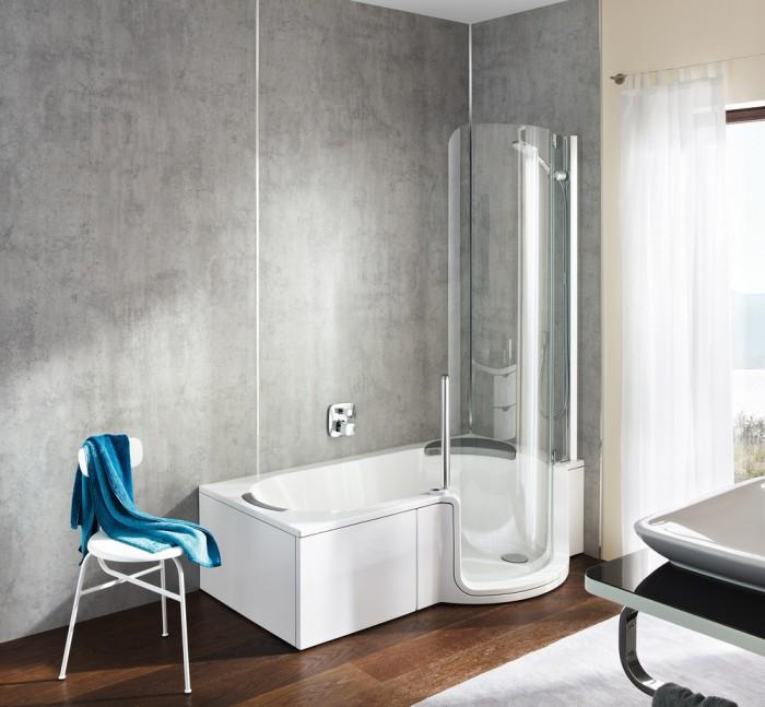 Combin bain douche twinline classic le 2 en 1 id al for Baignoire douche 2 en 1