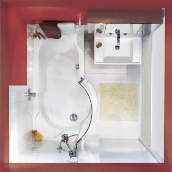 Vue de dessus du combiné Twinline Classic avec baignoire et douche