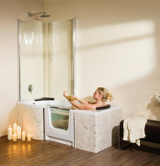combin bain douche saniku duo confort et pare douche. Black Bedroom Furniture Sets. Home Design Ideas