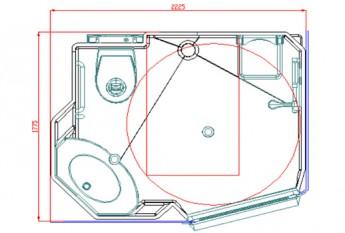 Dimensions et plan de la salle d'eau préfabriquée Easynova