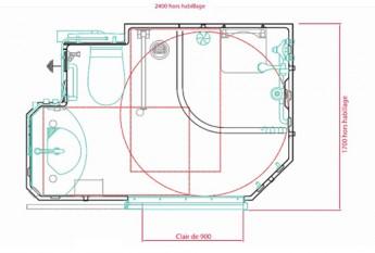 Dimensions et plan de la salle d'eau préfabriquée Spacianova