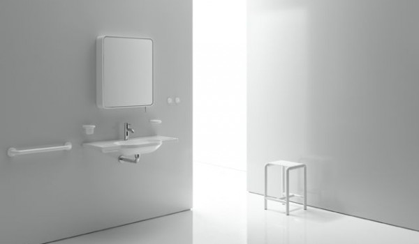 Miroir inclinable HEWI cadre blanc