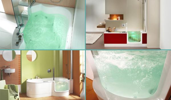 Différents modèles de combinés douche et baignoire ainsi que des baignoires à porte avec option balnéothérapie