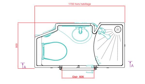 Plan de la salle d'eau préfabriquée Novajunior avec dimensions