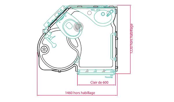 Plan de la salle d'eau Intégranova avec les dimensions