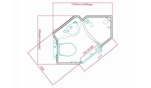 Dimensions et plan de la salle de bain préfabriquée Optimanova