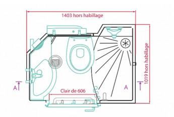 Plan et dimensions techniques de la salle de bain préfabriquée Mininova
