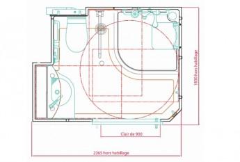 Dimensions et plan de la salle d'eau préfabriquée Familianova