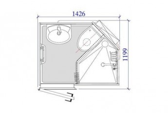 Dimensions salle d'eau préfabriquée Thalgo ERP