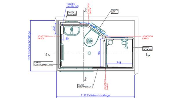 Plan et dimensions de la salle d'eau Aquanova 2