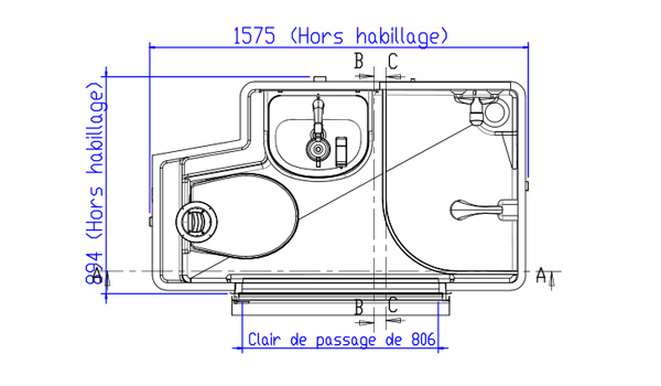 Plan et dimensions de la salle d'eau Novajunior 800