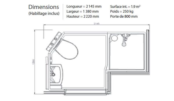 Plan de la salle d'eau préfabriquée Novastudio