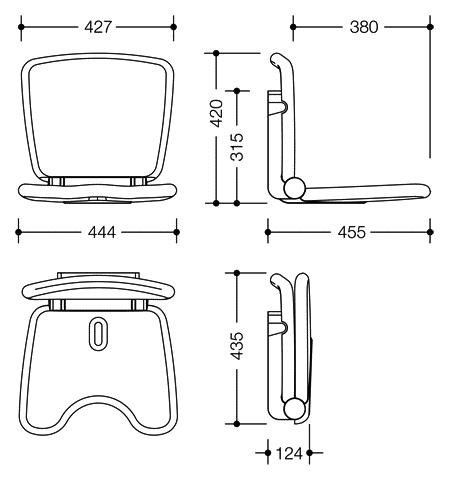 Dimensions siège LifeSystem Komfort 210