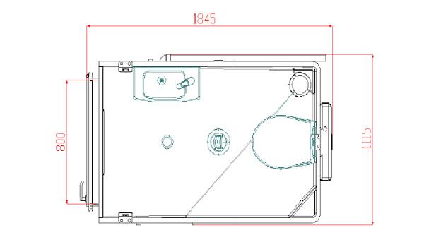 Plan de la cabine de douche préfabriquée Simplinova XL Douche