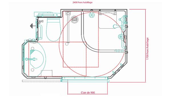 Moderne Salles de bain préfabriquées pour les Personnes à Mobilité Réduite MH-67