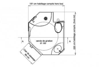 Dimensions et plan de la salle de bain préfabriquée Beaune