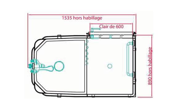 Plan de la salle d'eau Simplinova Douche préfabriquée et dimensions